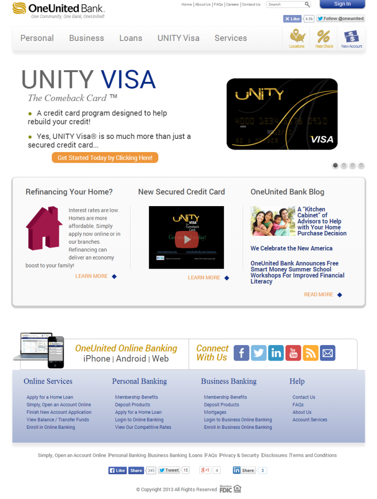 OneUnited Bank Website Screenshot