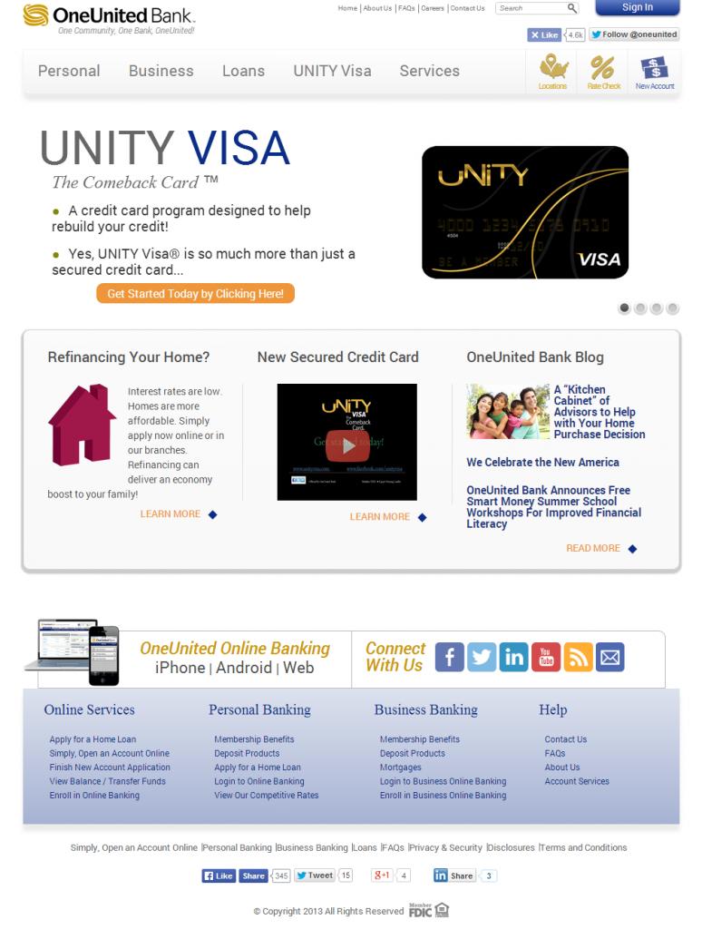 OneUnited Bank Website Screenshot
